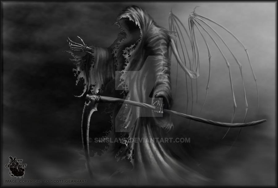 Drawn grim reaper angel wing Grim by by of sinslave