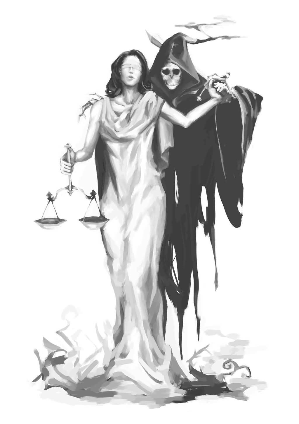 Drawn grim reaper blind Tattoo Tattoo Justice Justice With