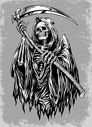 Drawn grim reaper bone wing drawing Illustration Hand grim Inked The