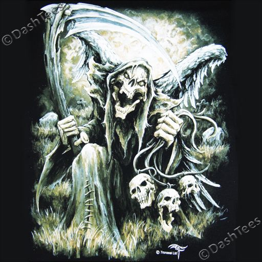 Drawn grim reaper bone wing drawing WINGS Details on SKULL SHIRT