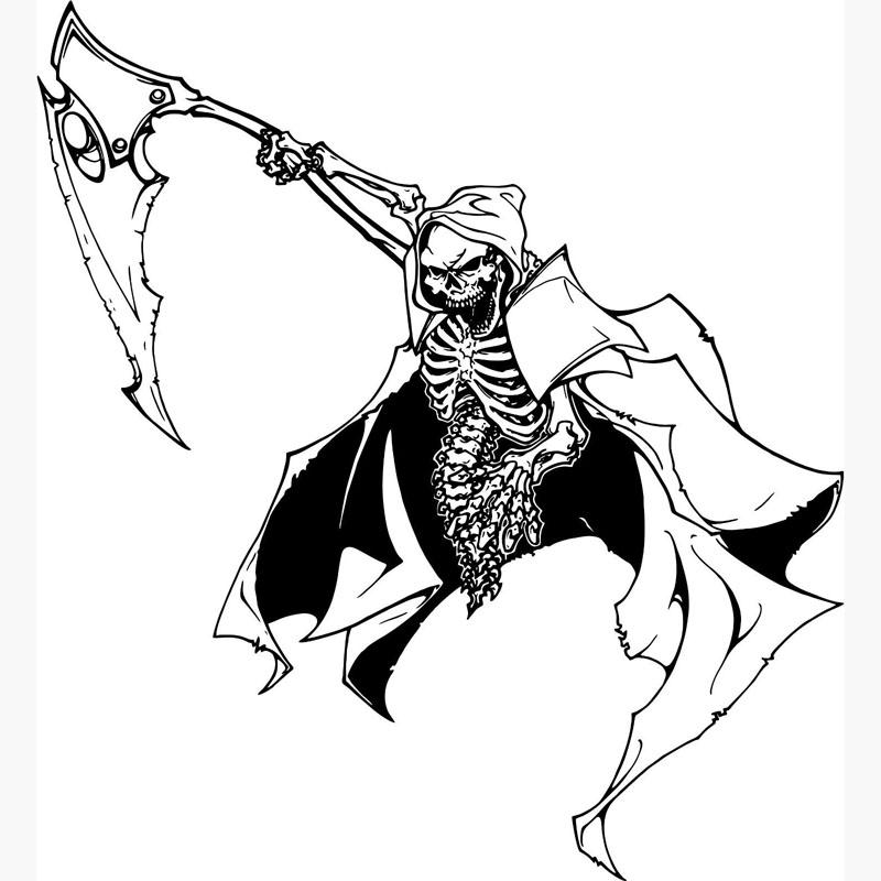 Drawn grim reaper boy Murals Wall Wall Wall Sickle