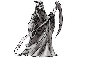 Drawn grim reaper death By a Lessons Reaper Step