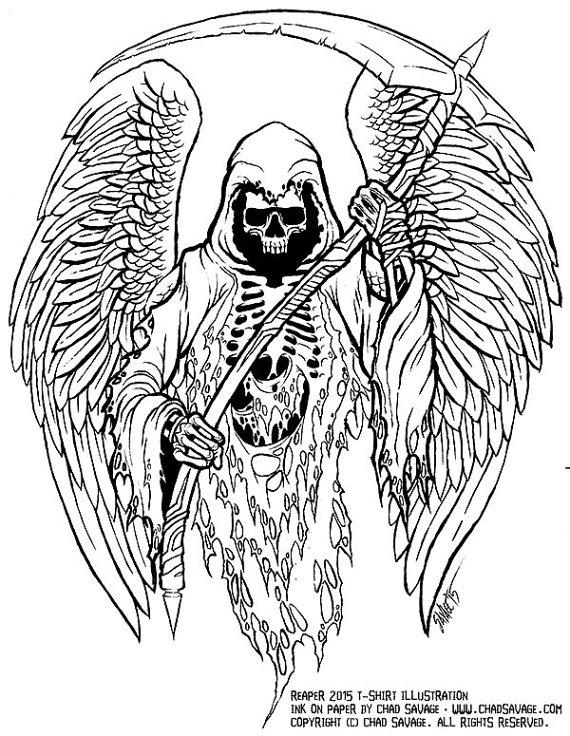 Drawn grim reaper detailed Drawing Reaper Ink Original Grim