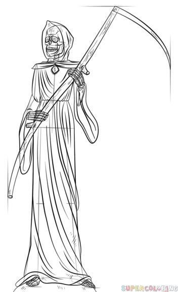 Drawn grim reaper detailed Coloring Reaper Reaper Contour Grim