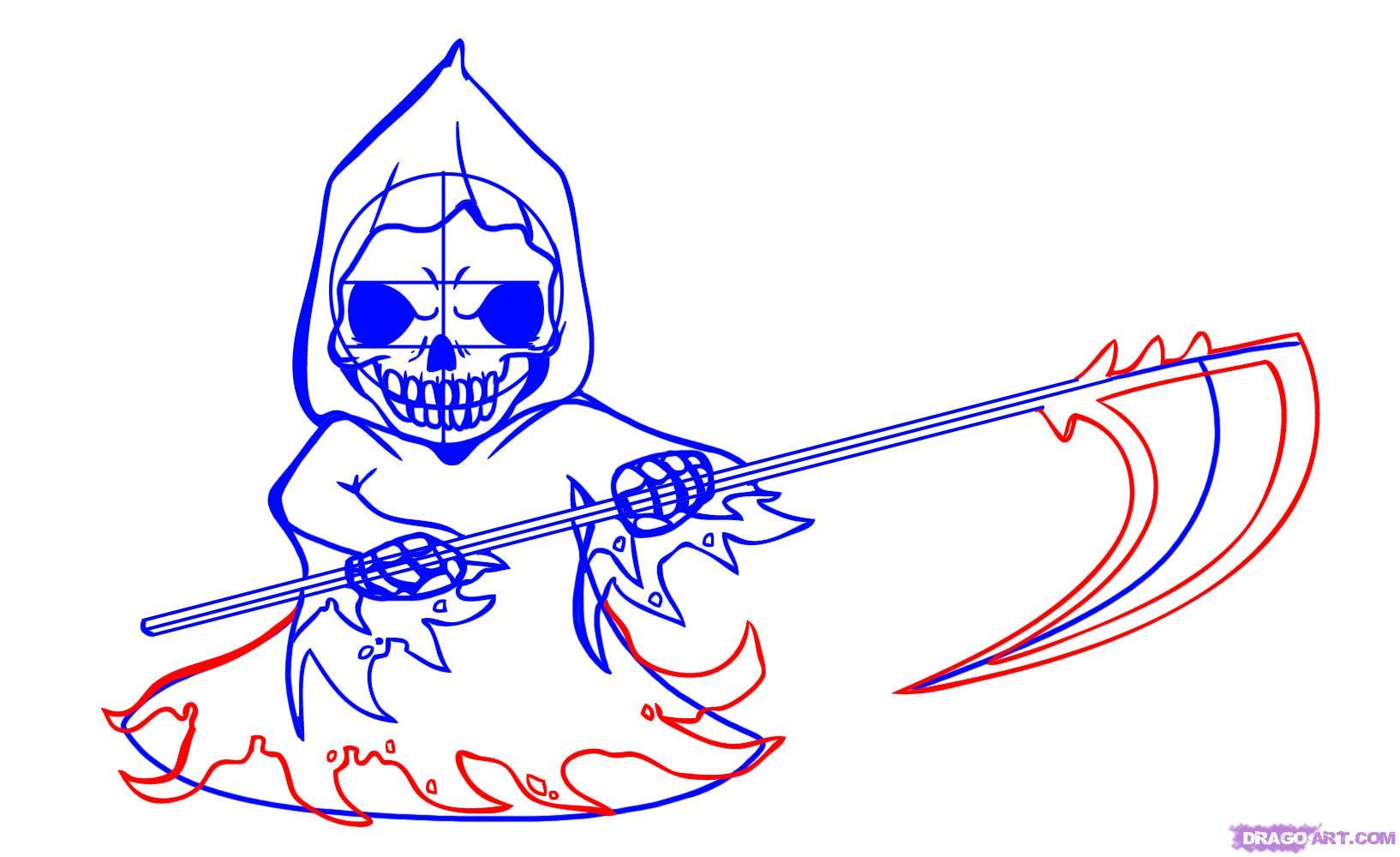 Drawn scythe red Step Chibi chibi Chibis reaper
