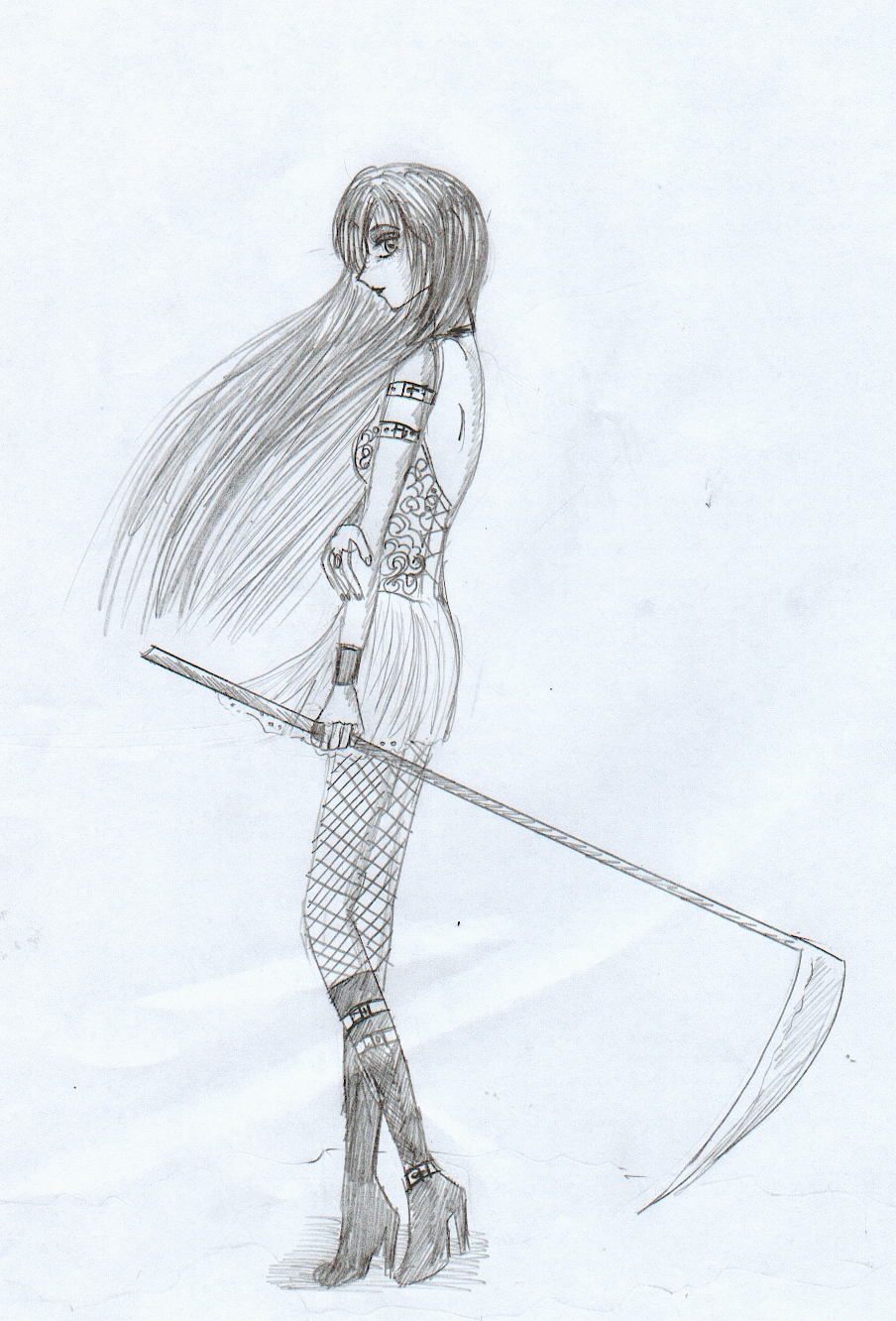 Drawn grim reaper girm Female on by Female by
