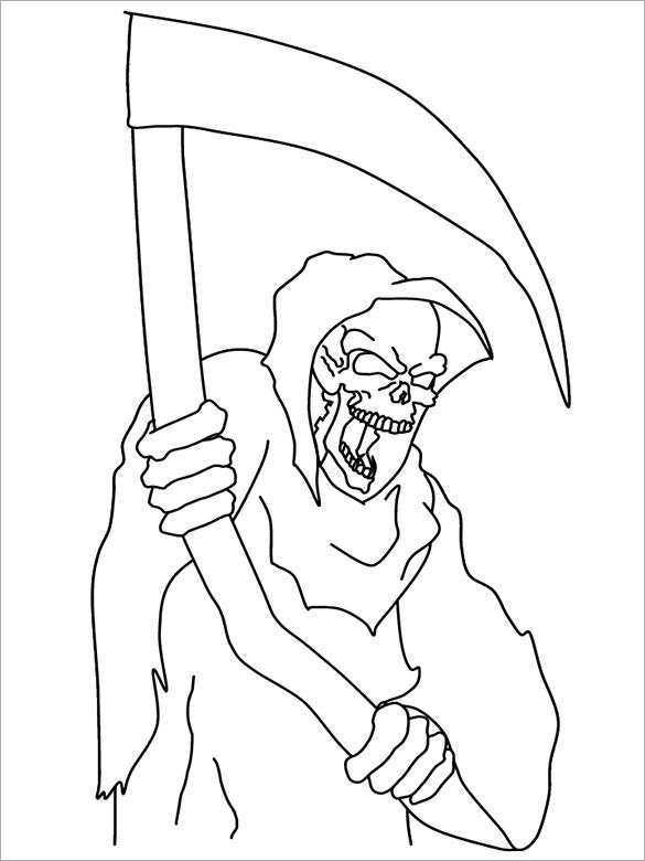 Drawn grim reaper halloween PDF 21+ Coloring Coloring Word
