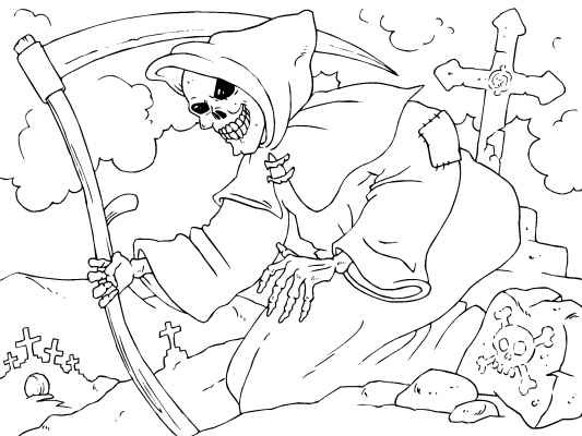 Drawn grim reaper halloween Pinterest Grim Halloween Reaper coloring