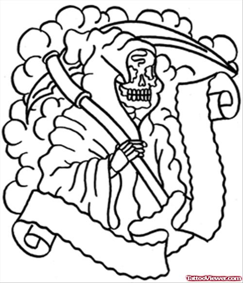 Drawn grim reaper outline Reaper Outline Tattoo Design Men