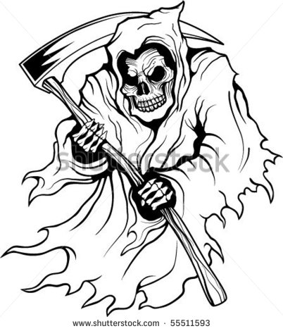 Drawn grim reaper outline Reaper Death Tattoo Picture 1
