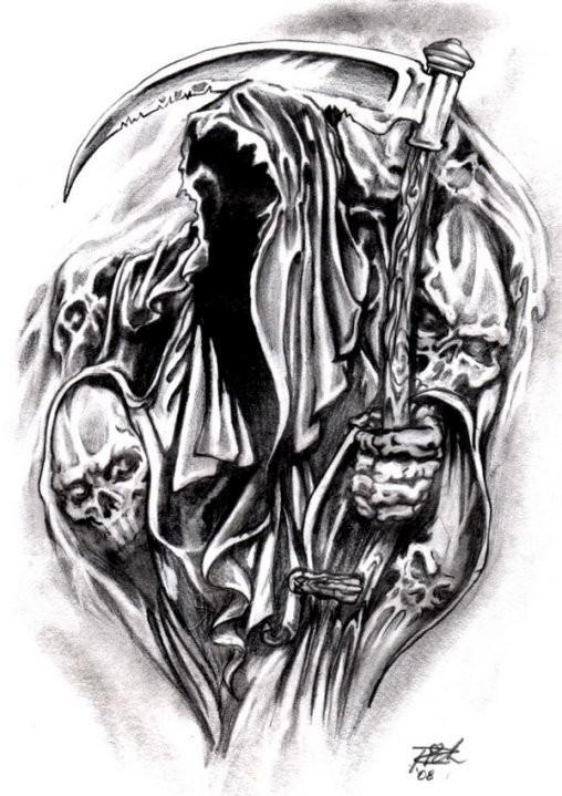 Drawn grim reaper outline Grim Attractive Design Tattoos Design