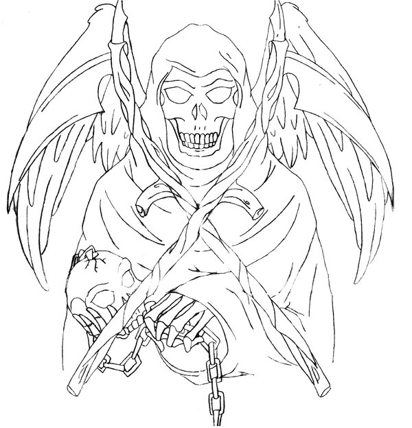 Drawn grim reaper outline Pinterest Grim  Custom Outlines