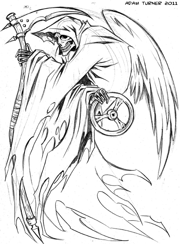 Drawn grim reaper outline TATTOOS Wonderful and design 1