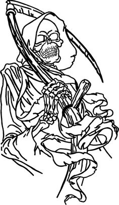 Drawn grim reaper outline DEATH tattoo Here were that