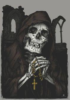 Drawn grim reaper santa muerte Art San Santa Muerte Culto