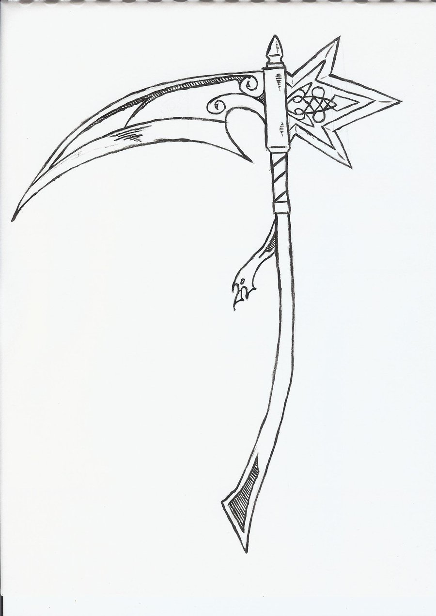 Drawn grim reaper scythe Of Reaper on by the