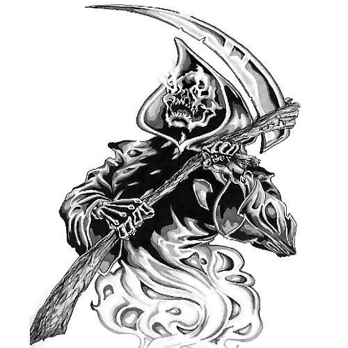 Drawn scythe spine Scythe Reaper Grim  with
