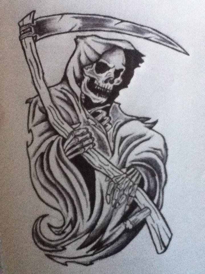 Drawn grim reaper skeleton Reaper Tattoo Design Pinteres… …