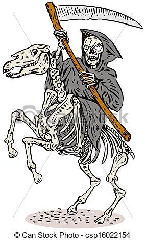 Drawn grim reaper skeleton Reaper Horseback csp16022154 Stock Reaper