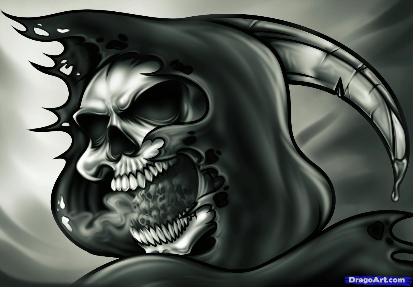 Drawn grim reaper skull Grim a Draw skull reaper