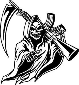 Drawn grim reaper skull Laptop on Window Truck Gun