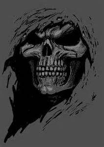 Drawn grim reaper skull Tattoo Temporary Gris
