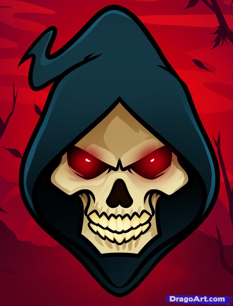 Drawn grim reaper skull Reaper Grim a face reaper