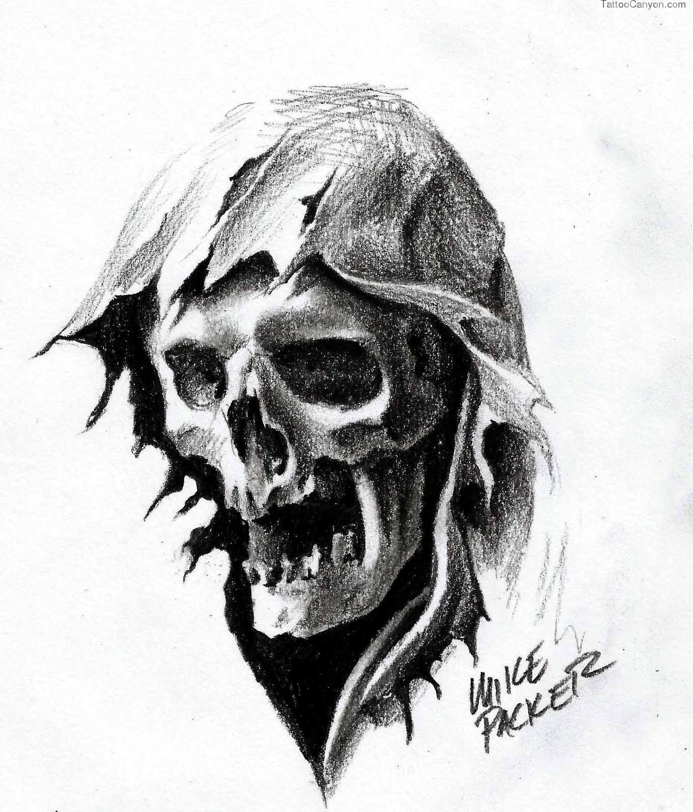 Drawn grim reaper skull Tattoobite Drawing Reaper Reaper Grim