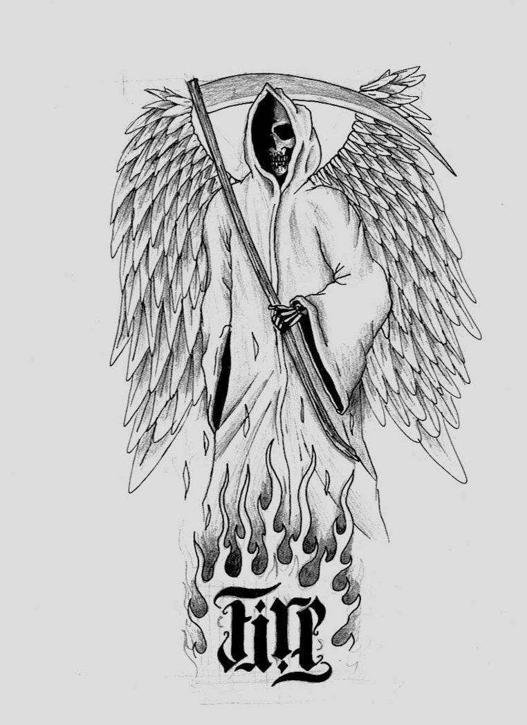 Drawn grim reaper sword Tattoo Tattoo 1 Winged Reaper