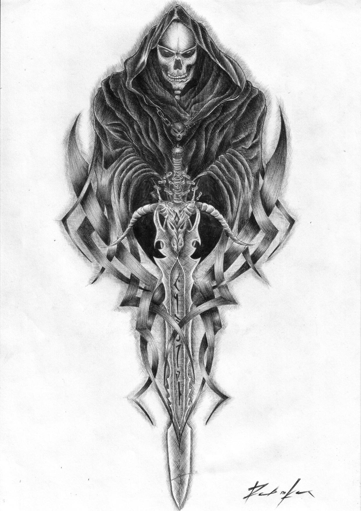 Drawn grim reaper sword Picture Reaper Art Design Picture