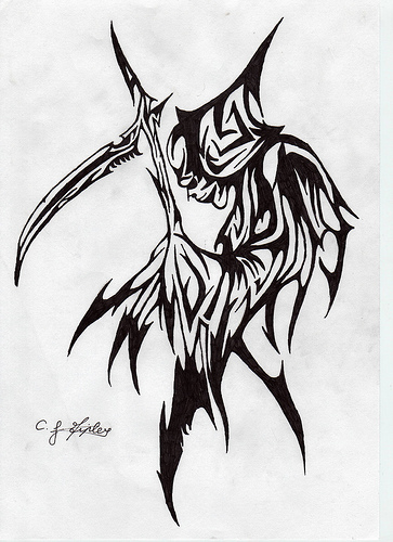 Drawn grim reaper tribal Body and :  Chris's