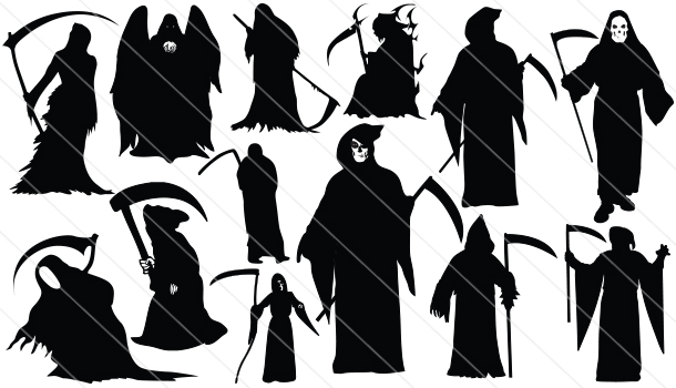 Drawn grim reaper vector Draculas Witches Halloween Halloween Witches