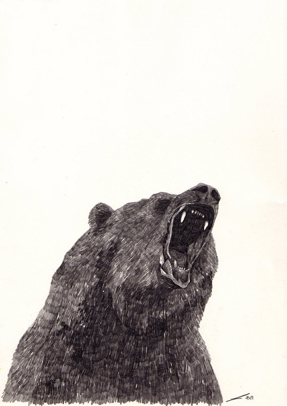 Drawn grizzly bear hand drawn Angry on Unterarm Angry by