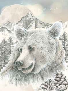 Drawn grizzly bear awesome  Drawing Hand Wall Print