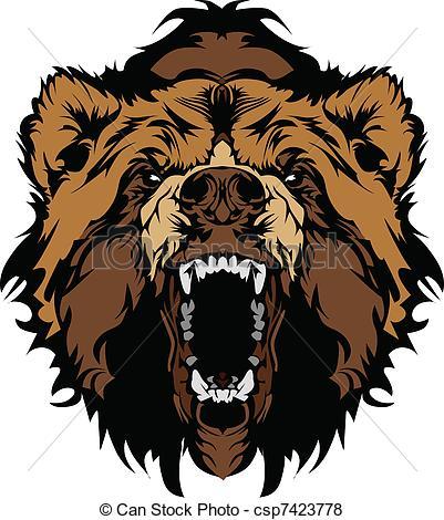 Drawn grizzly bear bear head Mascot Graphic Mascot Head Vector