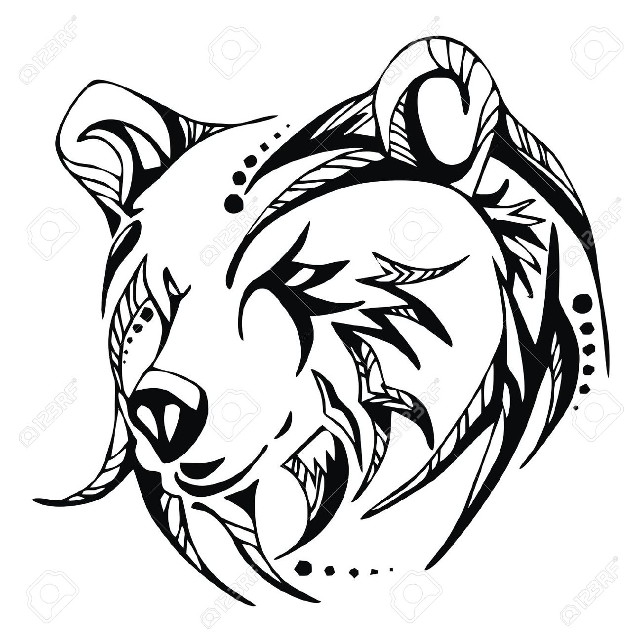 Drawn grizzly bear bear head Pinterest tattoos Bear Grizzly Images