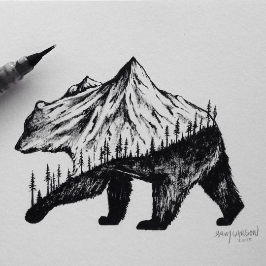 Drawn grizzly bear hand drawn California California tattoos Best bear