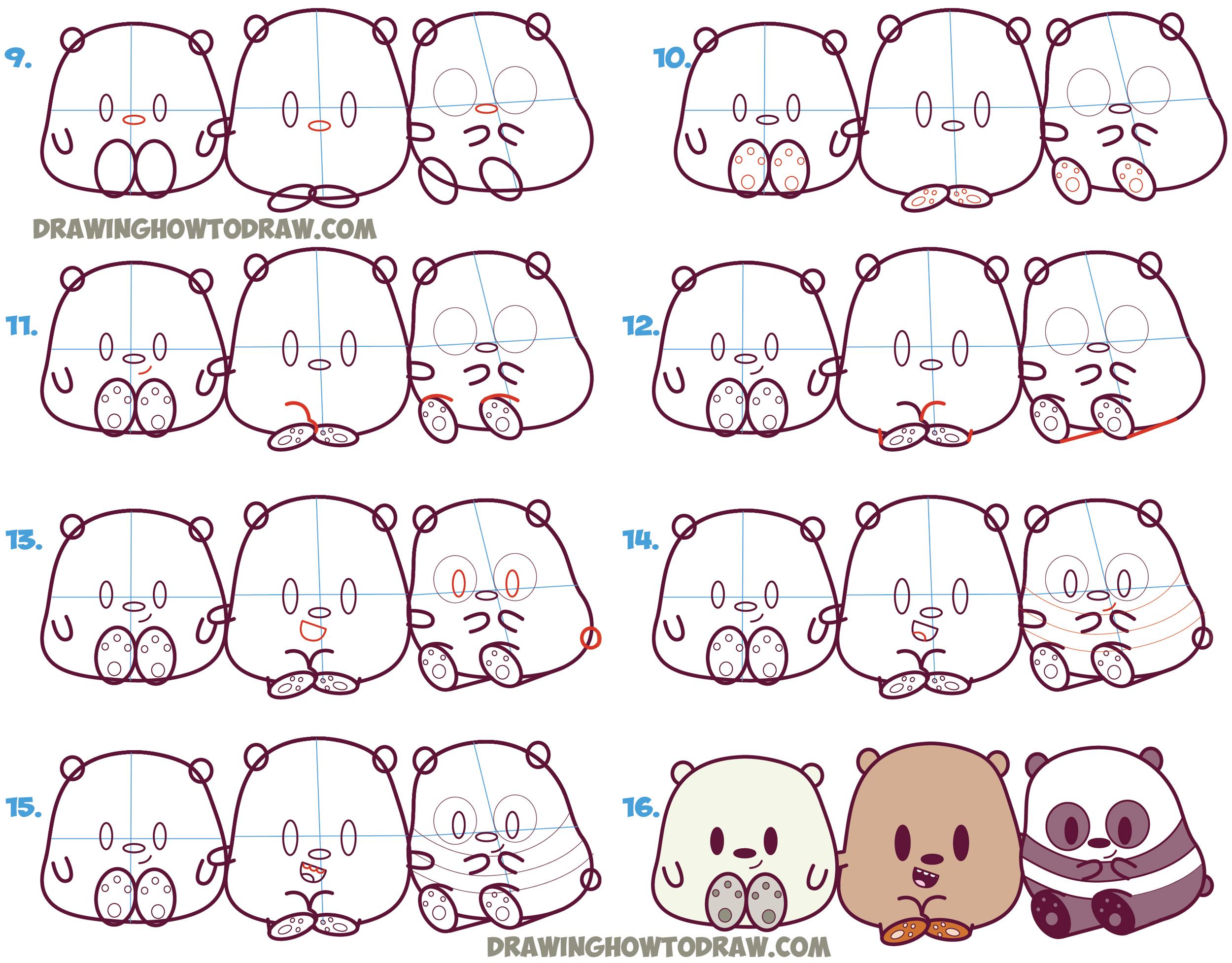 Drawn grizzly bear chibi (Cute Bears Kawaii Chibi /