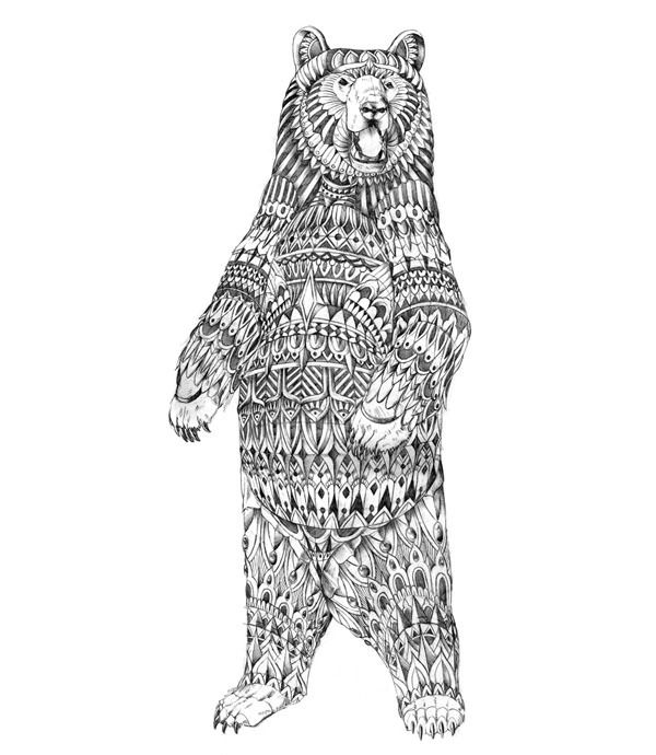 Drawn grizzly bear doodle Jpg standing Art best Sketches