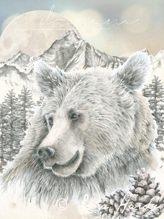 Drawn grizzly bear hand drawn Wall Art Print Drawn