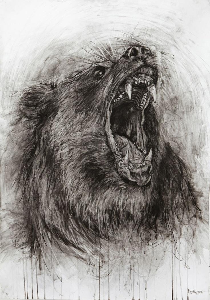 Drawn grizzly bear roar Facebook ROARING bears on etching