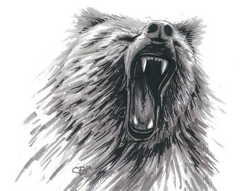Drawn grizzly bear roar Roar Grizzly Art Etsy