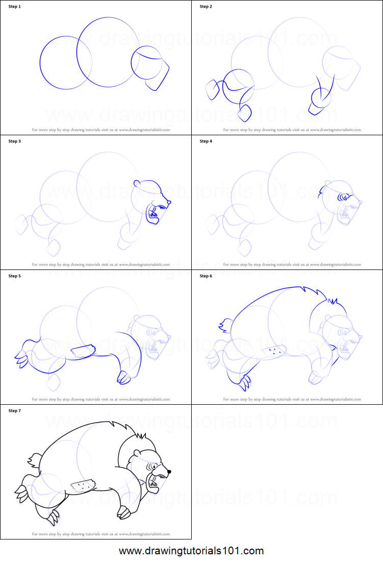 Drawn grizzly bear step by step Friends to from How Bear