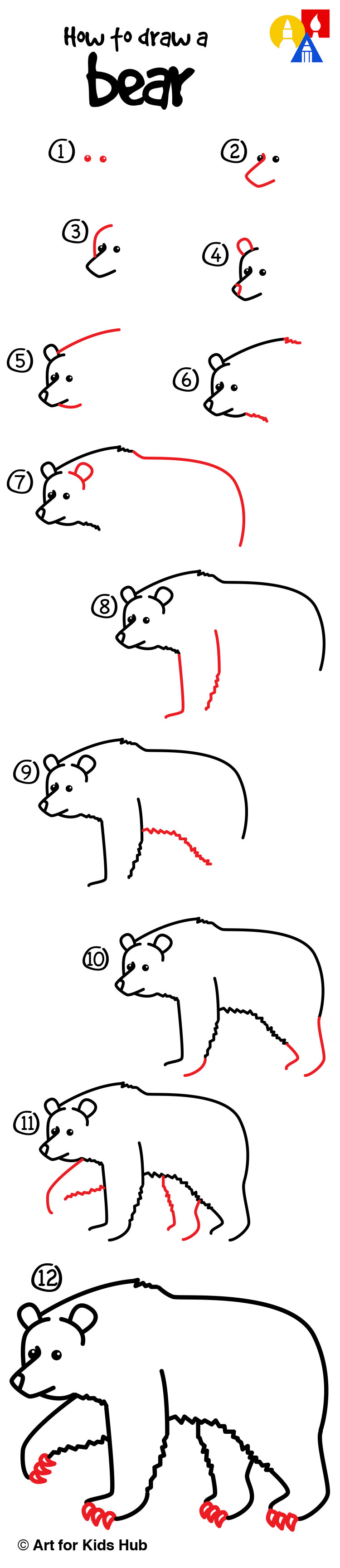 Drawn grizzly bear step by step Draw bear! on Easy