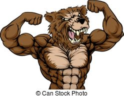 Drawn grizzly bear strong Prowling Grizzly Bear Vector Mascot