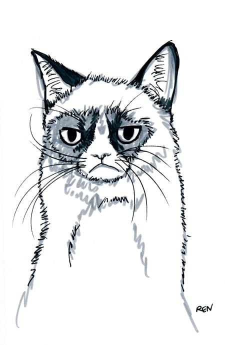 Drawn grumpy cat Drawing Mug Cat Drawing Grumpy
