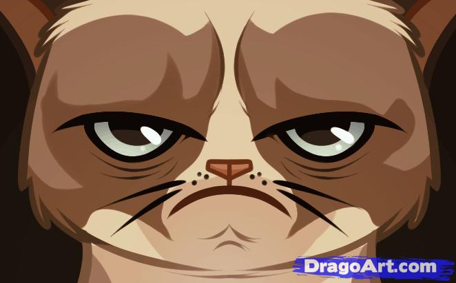Drawn grumpy cat  Cat tard the Step