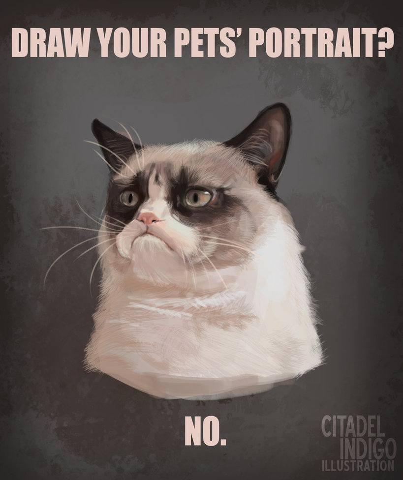 Drawn grumpy cat digital Michaeldoig on Grumpy Cat by