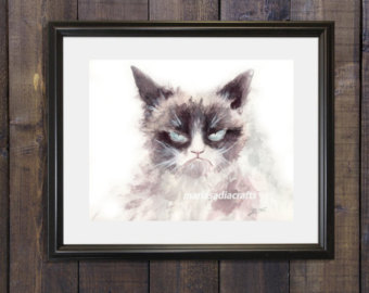 Drawn grumpy cat digital Decoration cat drawing cat art
