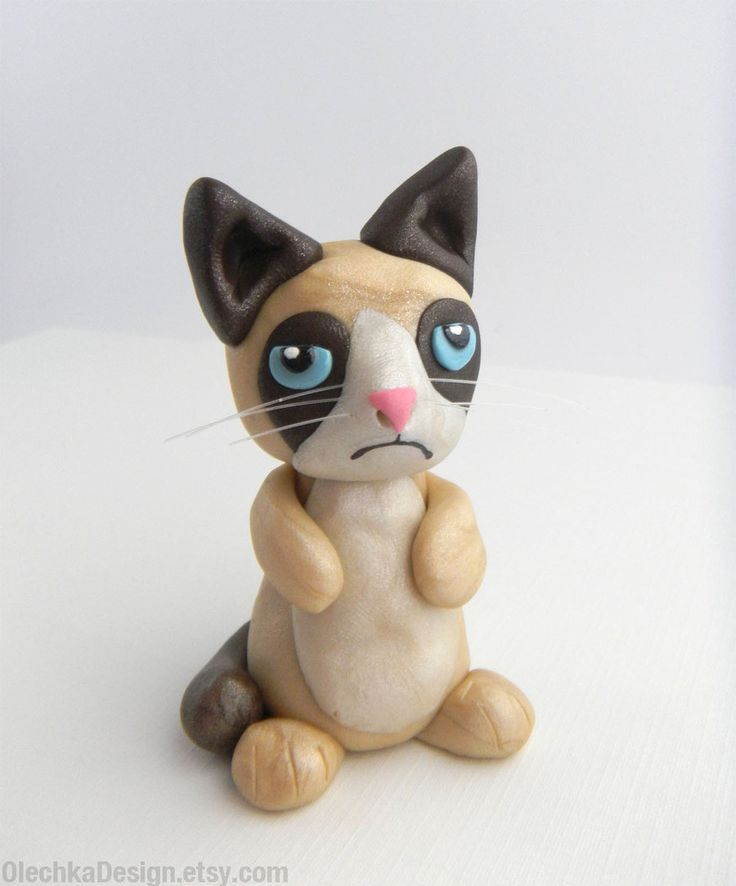 Drawn grumpy cat polymer clay Clay Sculpture @deviantART Grumpy Polymer